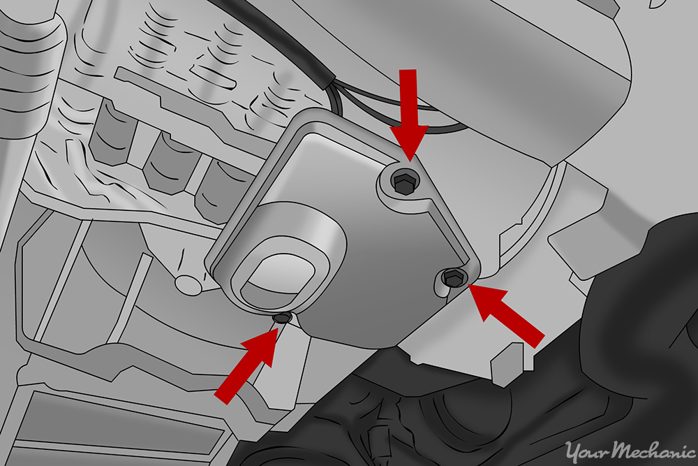 arrows indicating where to remove a transmission oil filter