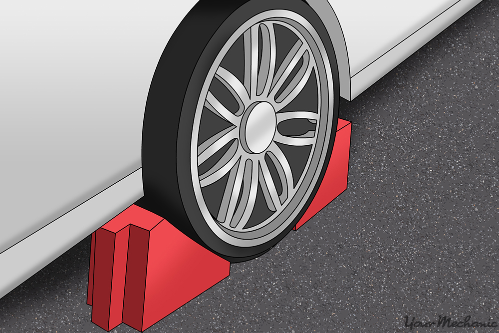 wheel chocks on both sides of tire