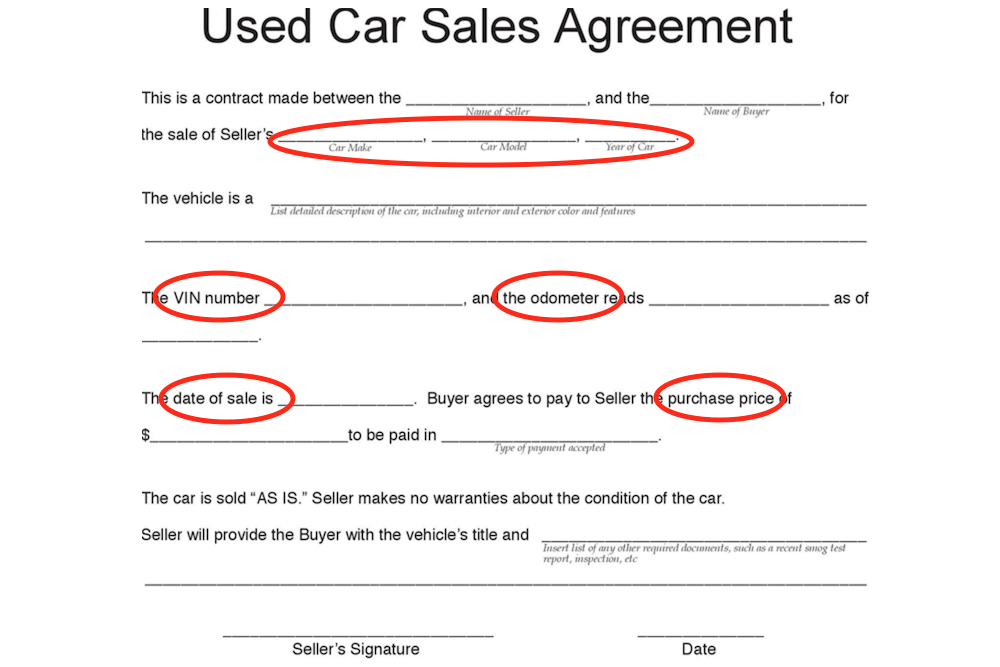 How To Purchase A Used Car With Cash  Private Car Sale Contract Payments