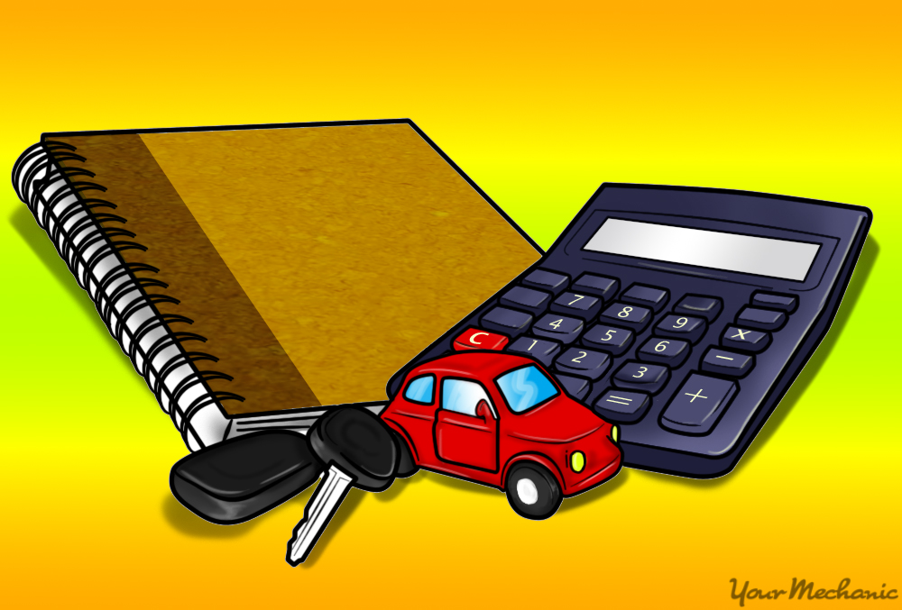 toy car, key, notepad, and calculator