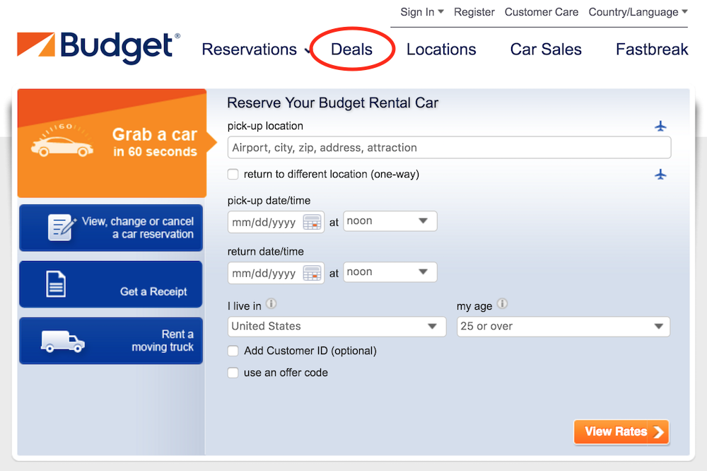 budget car rental site