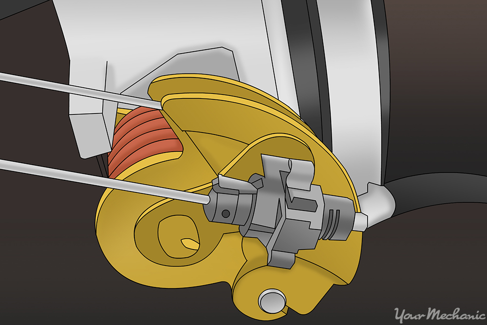 how to replace a cruise control cable yourmechanic advice cruise control cable attached to the throttle control