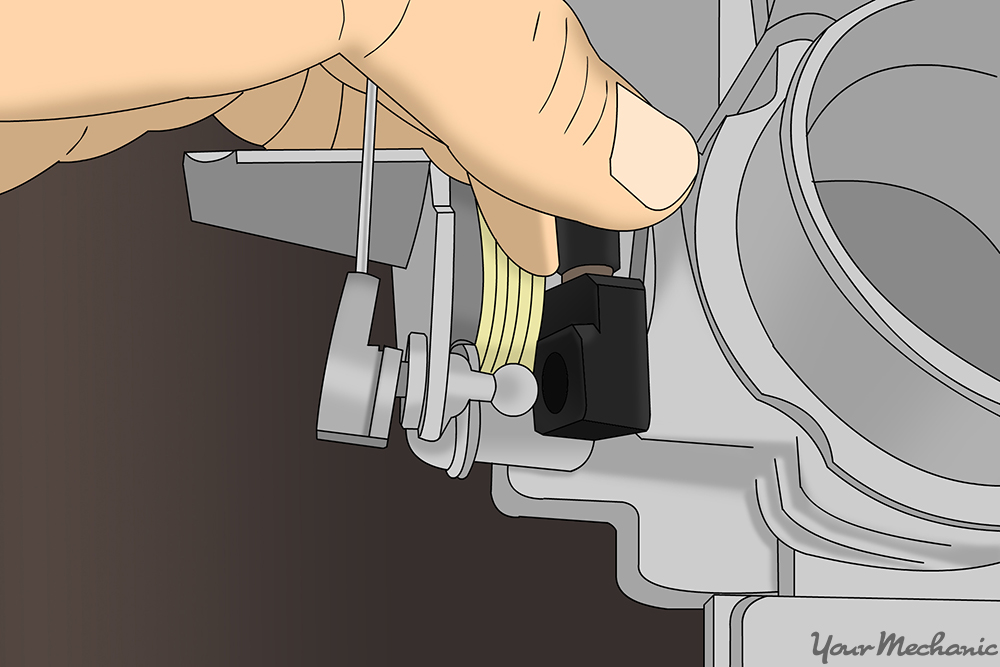 cruise control cable being attached to the throttle linkage