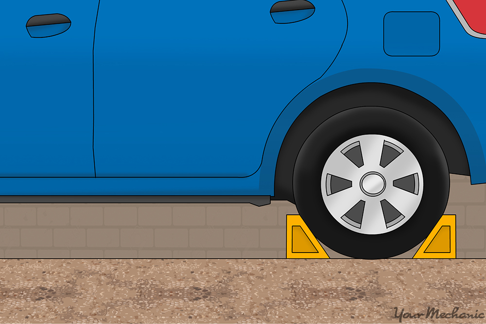 wheel chocks around tire