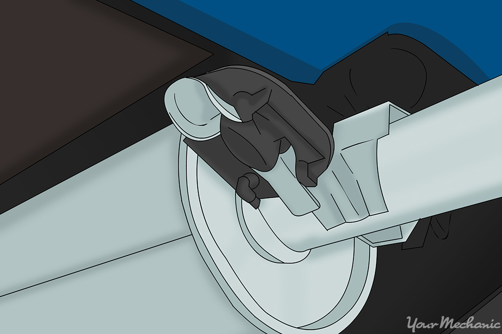 muffler mounting arm within rubber hanger