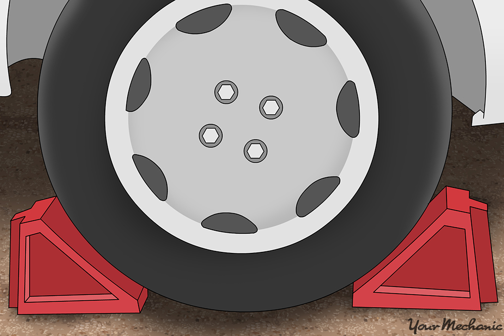 wheel chocks on front and back of a wheel