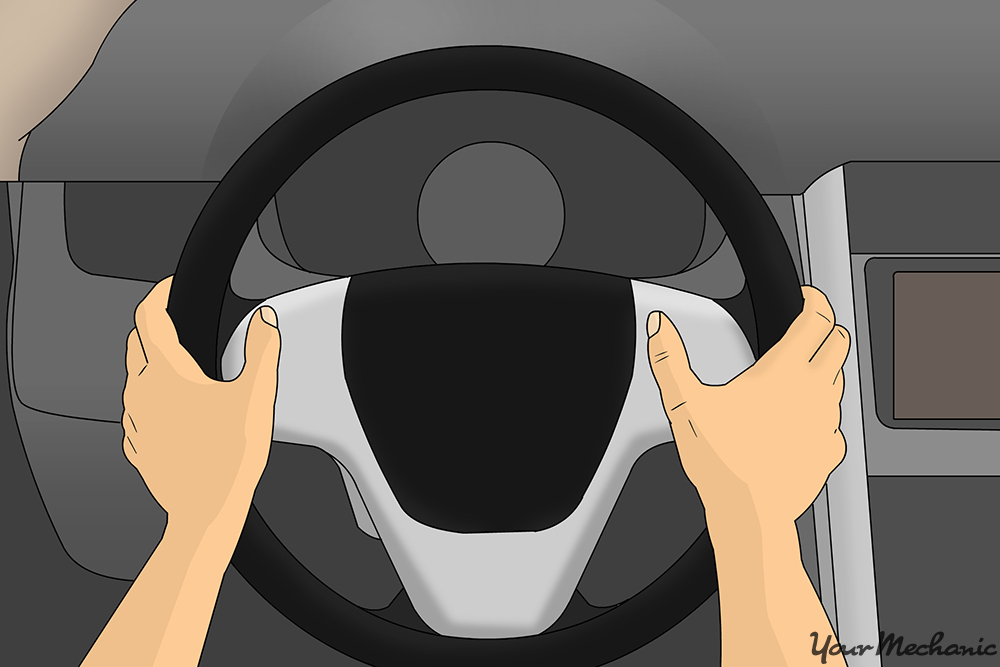 driver POV with hands on steering wheel