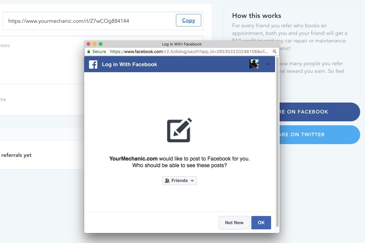 facebook pop-up