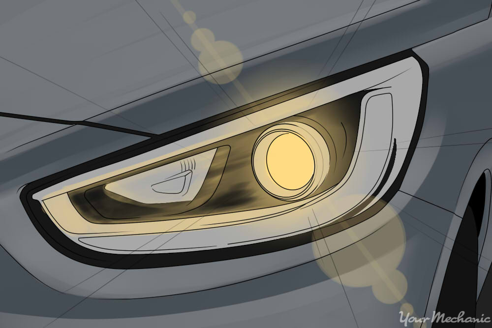 close-up of headlight