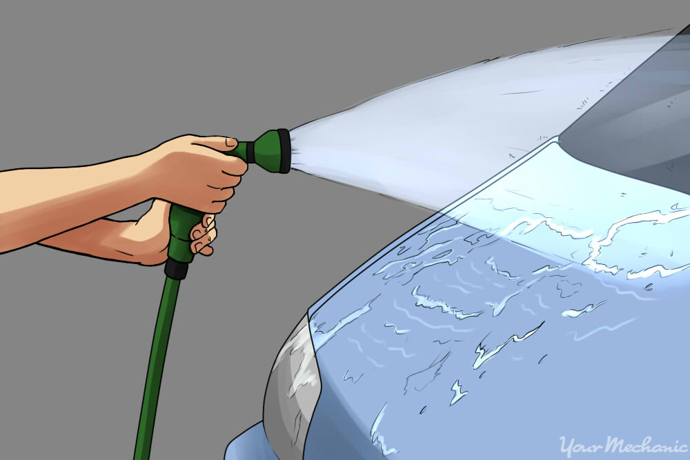 hosing off a car