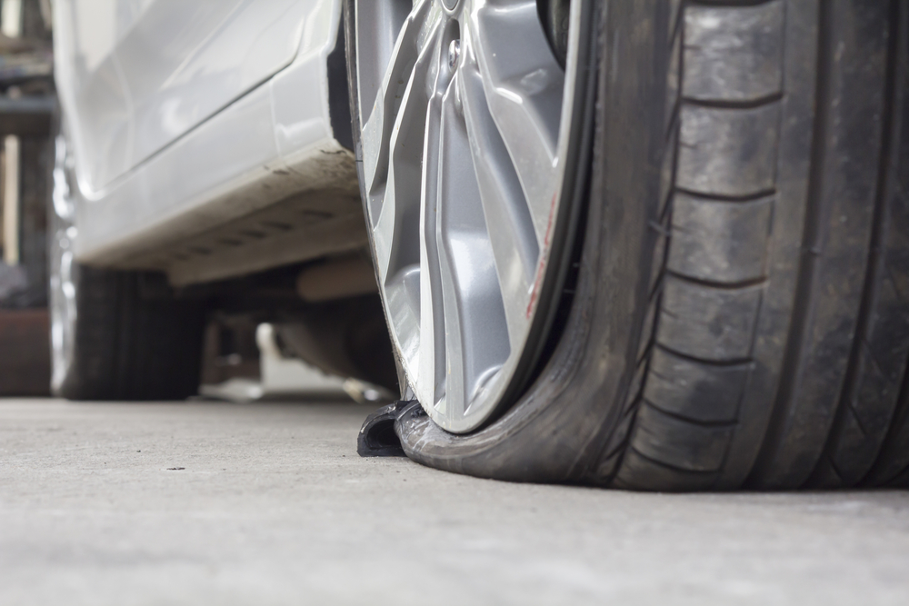 burst car tire