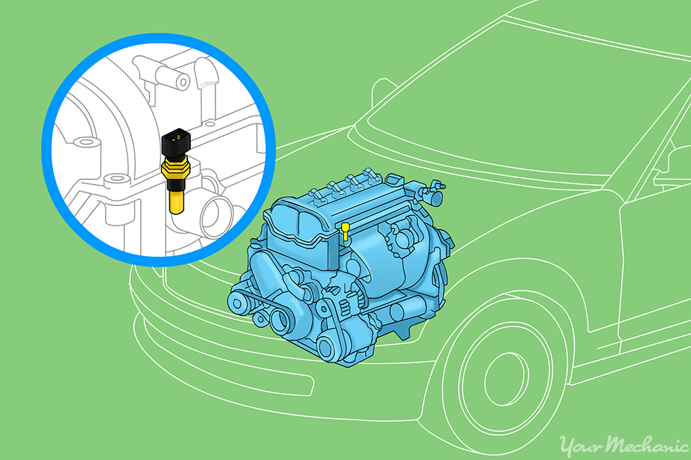 How To Replace A Coolant Temperature Switch Graphic Showing A Diagram Of The Engine And Then A Zoomed In Section Revealing The Location Of The Coolant Temperature Switch