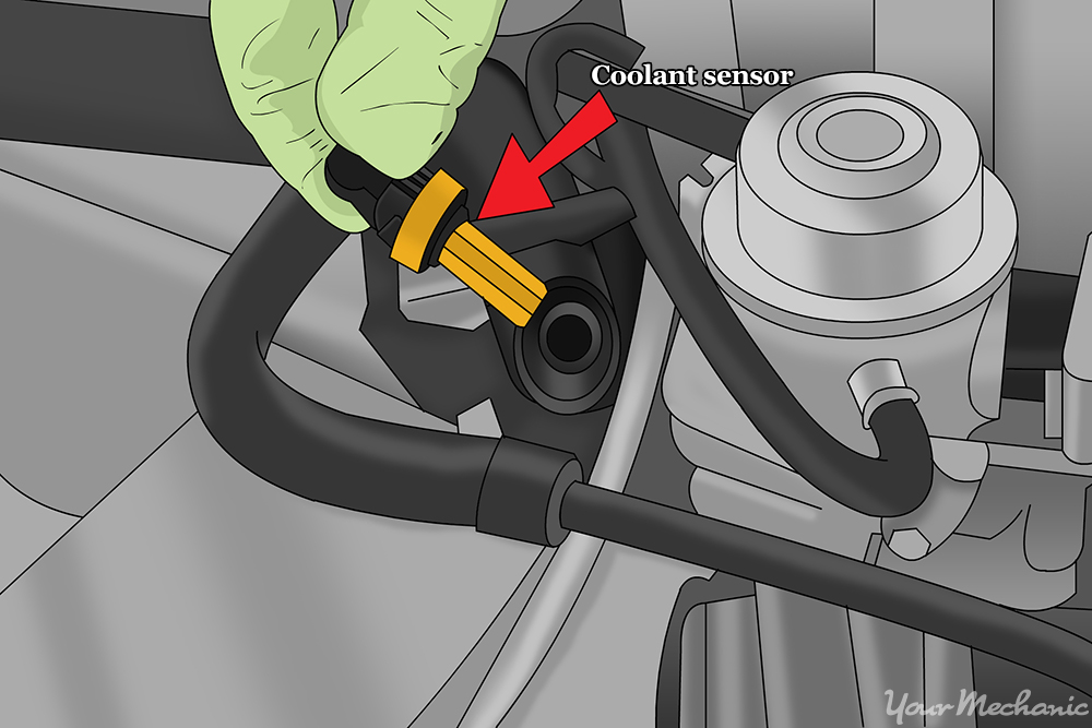 How To Replace A Coolant Temperature Switch Coolant Sensor Being Reinserted on 2002 Chrysler Town And Country Thermostat Location Diagram