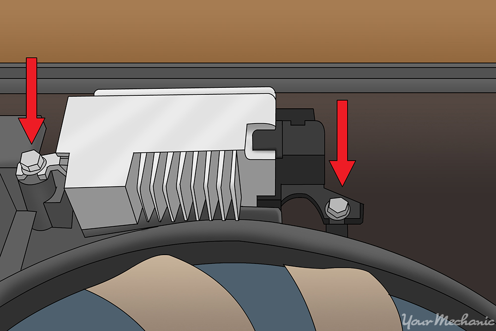 arrows pointing to mounting bolts