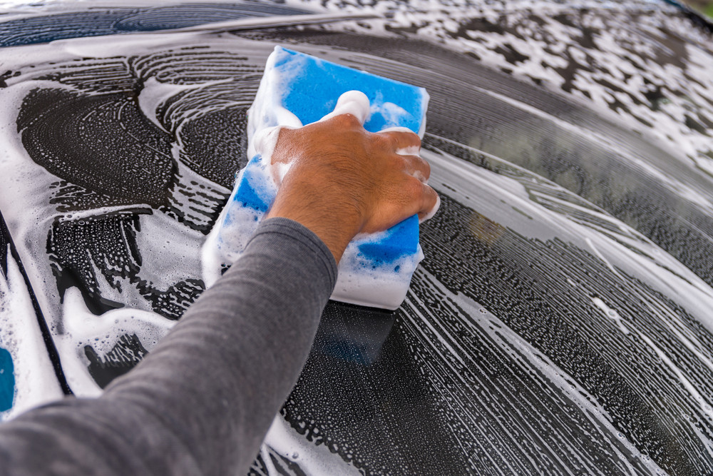 Washing Car in Winter