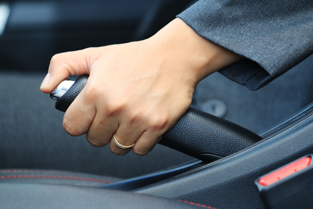 Driving with parking brake