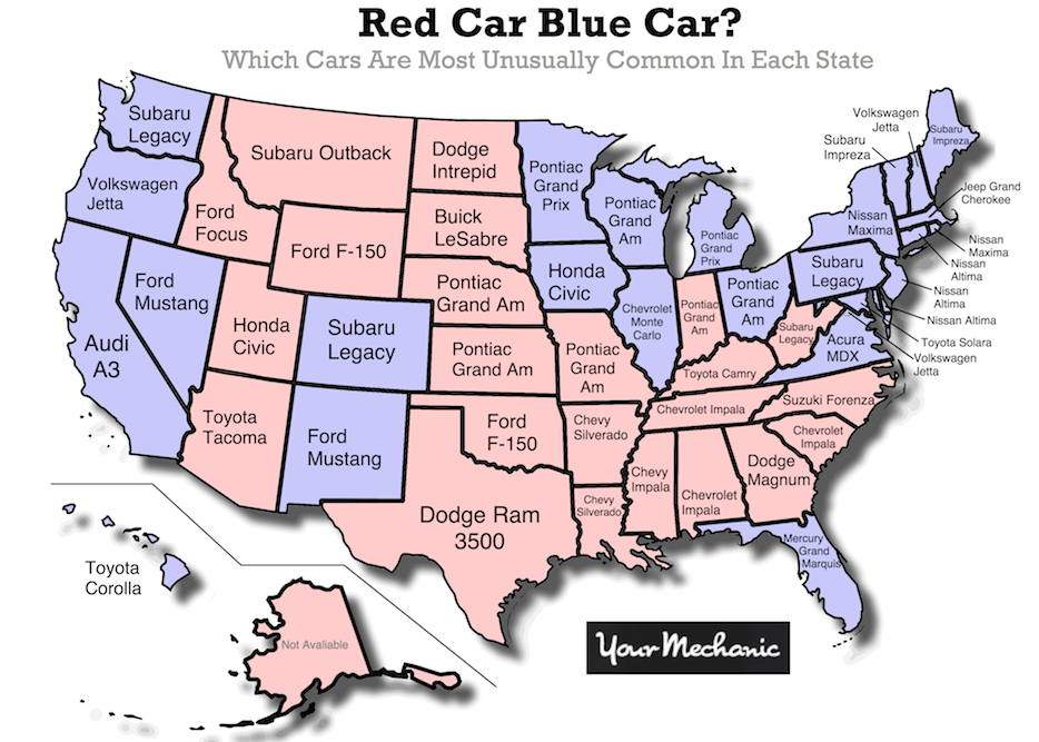 which cars are most unusually common in each state