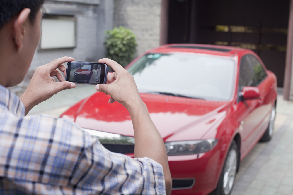 Photographing car with phone