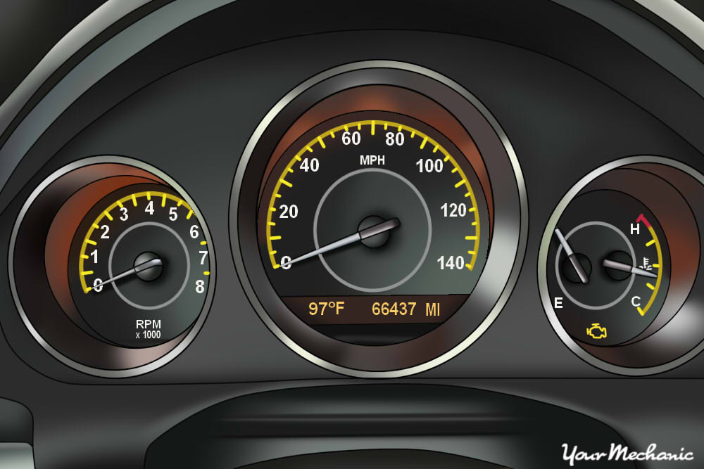 Understanding Saturn Service Indicator Lights - view of Saturn instrument panel with Check Engine light on